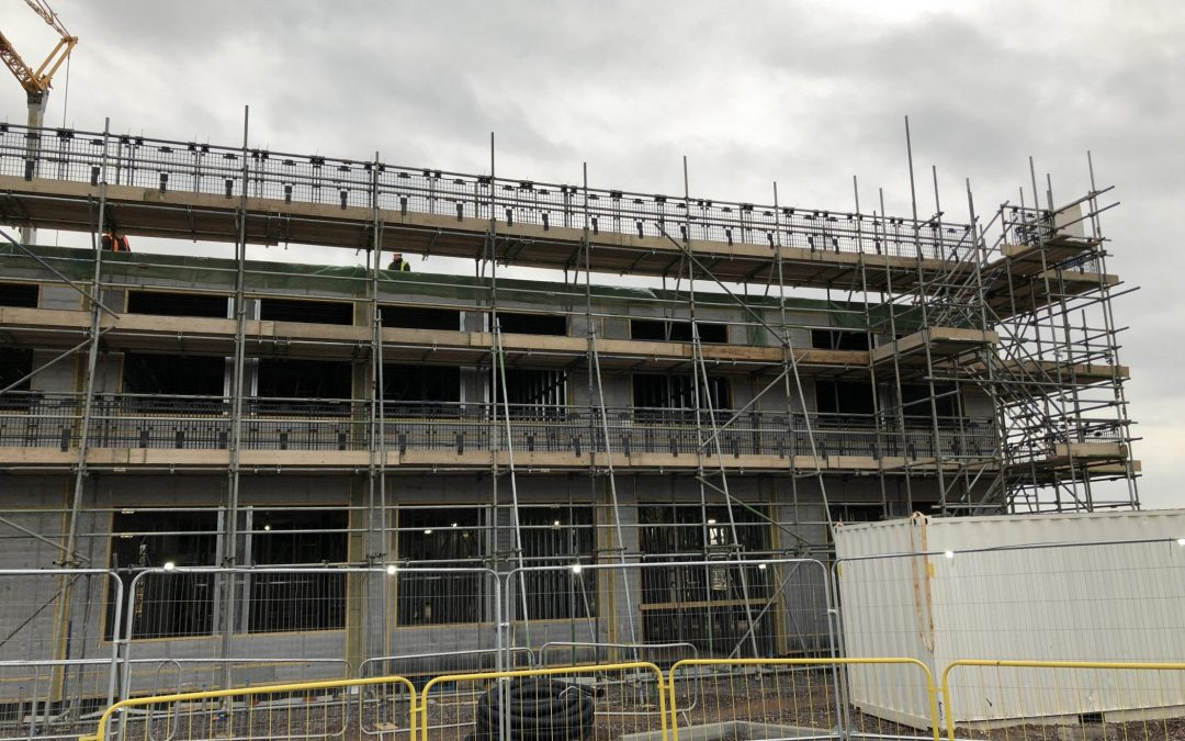 building works with scaffolding